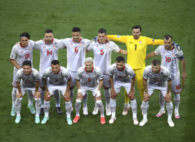 The North Macedonia team pictured before Sunday's Euro 2020 game against Austria in Bucharest.