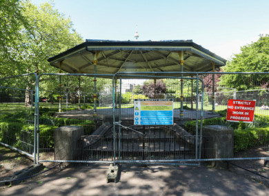 The St Stephen's Green bandstand pictured yesterday before the barriers were removed by people in the park.