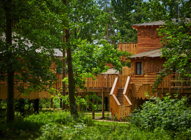The exterior of a Center Parcs treehouse