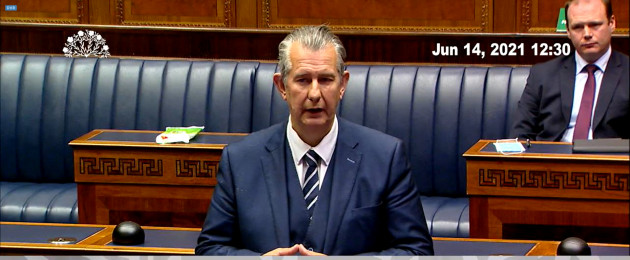 Edwin Poots speaking after Arlene Foster formally announced her resignation as First Minister in the chamber of the NI Assembly.
