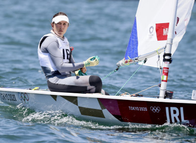 Annalise Murphy in action during the first Laser Radial race in Tokyo.