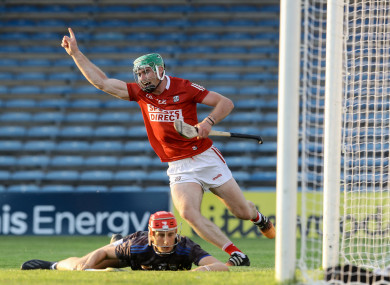 Cork's Luke Horgan celebrates scoring their third goal.