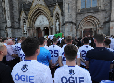 Mourners attend the funeral for Monaghan GAA U20 star Brendan Og Duffy at St McCartan's Cathedral in Monaghan town.
