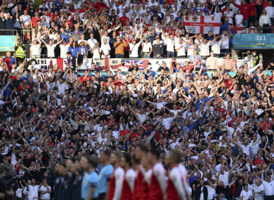 England supporters pictured during the Denmark game.