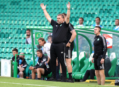 Celtic manager Ange Postecoglou reacts during the Uefa Champions League second qualifying round.
