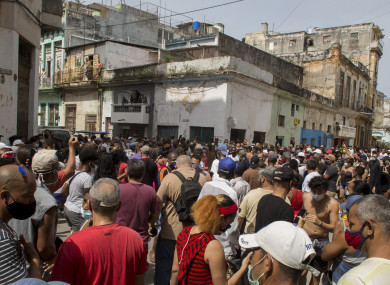 An anti-government protesters march in Havana, Cuba on 11 July