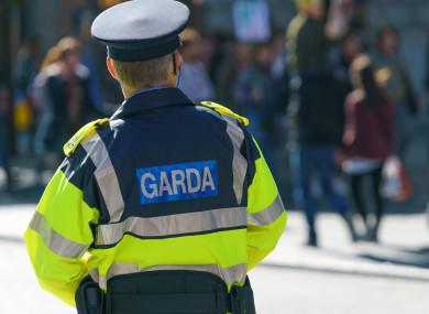 File image of a Garda patrolling in Dublin.