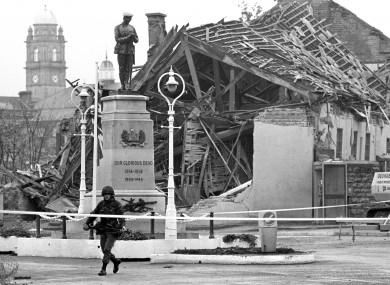 A community centre in ruins in Enniskillen, Co Fermanagh, after a bomb blast on 8/11/1987.