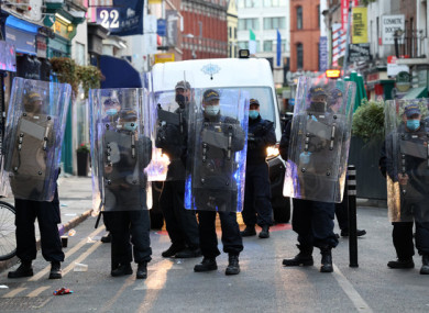 Members of the An Garda Siochana Public Order unit in Dublin last month.