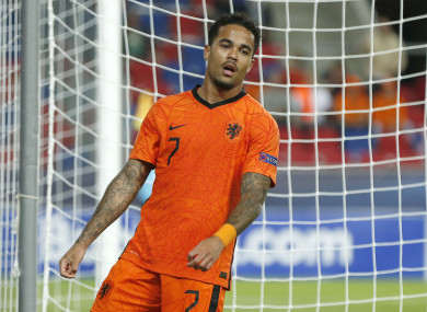 Justin Kluivert playing for the Netherlands U21 side earlier this summer.
