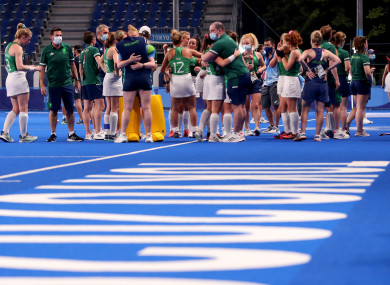 Ireland players and staff dejected afterwards.