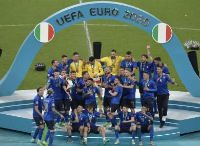 Italy celebrate their European title.