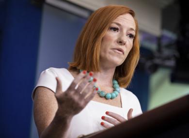 White House Press Secretary Jen Psaki briefs members of the media at the White House in Washington on Monday.