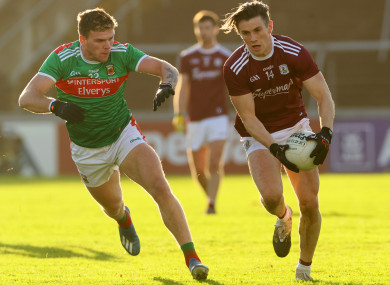 Mayo's Jordan Flynn and Shane Walsh of Galway during the 2020 championship clash.