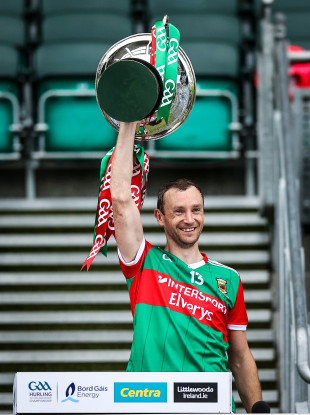Keith Higgins lifting the Nicky Rackard Cup.