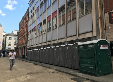 Portaloos near Dame Court in Dublin city centre in June of this year.
