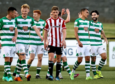 Shamrock Rovers celebrate after Richie Towell scored his first league goal since his return from England.