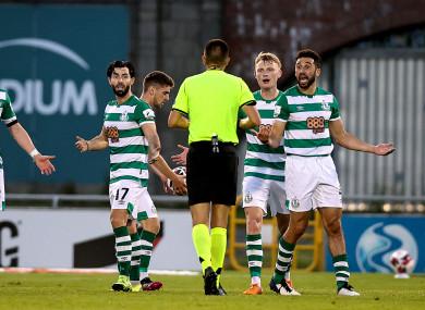 Shamrock Rovers react after conceding against Slovan Bratislava.