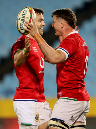 Conor Murray and Tom Curry celebrate the latter's try.
