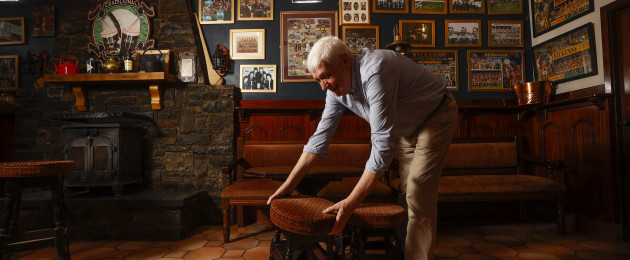 Pictured getting his pub ready for reopening in Knocktopher, Co Kilkenny, is Eamon Irish who owns Irish's Bar in the village.