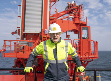 Johnson onboard the Esvagt Alba during a visit to the Moray Offshore Windfarm East, off the Aberdeenshire coast.