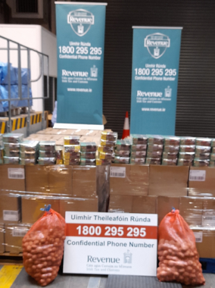 The tobacco seized by Revenue at Dublin Port