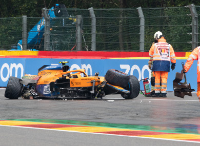 Lando Norris wrote off the back of his McLaren.