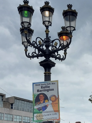 The Five Lamps lit in Green, white and orange for the arrival of Kellie Harrington.