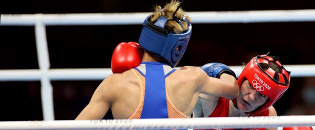 Kellie Harrington won her quarter-final bout in style.