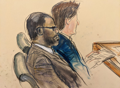 Courtroom artist's sketch of R Kelly during his trial.