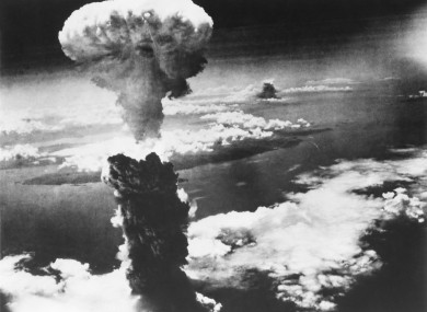 The mushroom cloud over Nagasaki after the bomb was dropped.
