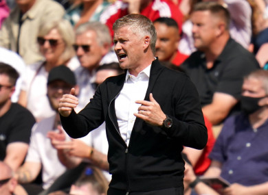Manchester United manager Ole Gunnar Solskjaer reacts during the Premier League match.