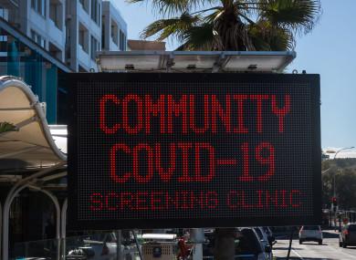 Covid screening clinics near Bondi Beach in Australia.