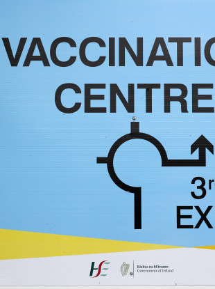 A sign outside a walk-in vaccine centre in the Swords National Show Centre, Dublin, on Saturday