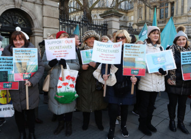School secretaries outside Leinster House at a strike in January 2020