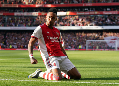 Pierre-Emerick Aubameyang channels Thierry Henry in celebrating his goal against Spurs.