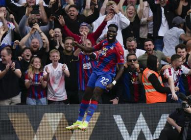 Crystal Palace's Odsonne Edouard celebrates after scoring.