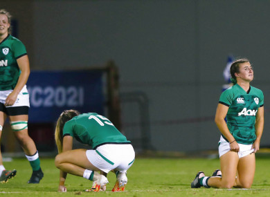 Ireland players dejected at the final whistle.
