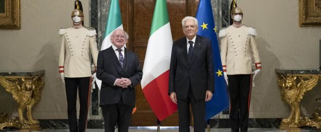 An Uachtaráin Michael D Higgins with Italian President Sergio Martarella.