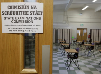 File image of a Leaving Cert exam hall in Dublin.