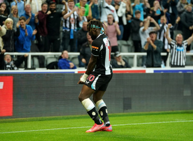 Newcastle United's Allan Saint-Maximin celebrates scoring at St James' Park.