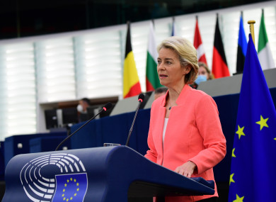European Commission President Ursula von der Leyen delivering this morning's State of the Union address.
