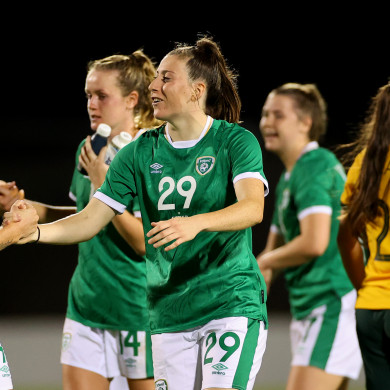 Lucy Quinn (29) celebrates after the 3-2 win.