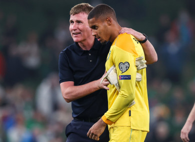 Ireland manager Stephen Kenny celebrates after last night's game with goalkeeper Gavin Bazunu