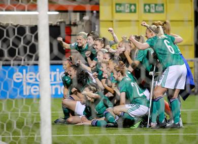Northern Ireland celebrate qualifying for the Euros.