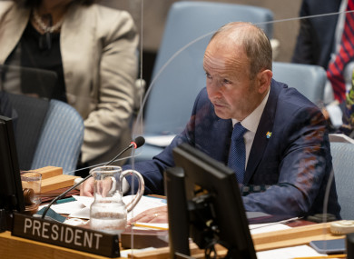 The Taoiseach speaking at the UN Security Council in New York today.