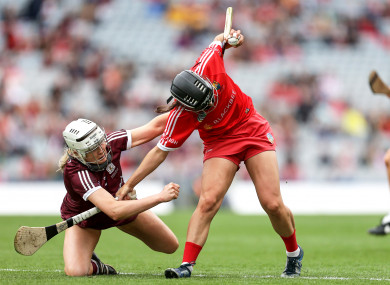 Cork's Amy O'Connor and Shauna Healy of Galway clash in the All-Ireland camogie final.