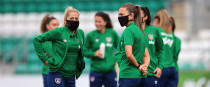 Ireland's Katie McCabe with her team-mates before the recent friendly against Australia.