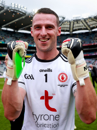 Tyrone's Niall Morgan celebrates after the 2021 Ulster final.