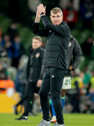 Stephen Kenny applauds the crowd after the game.